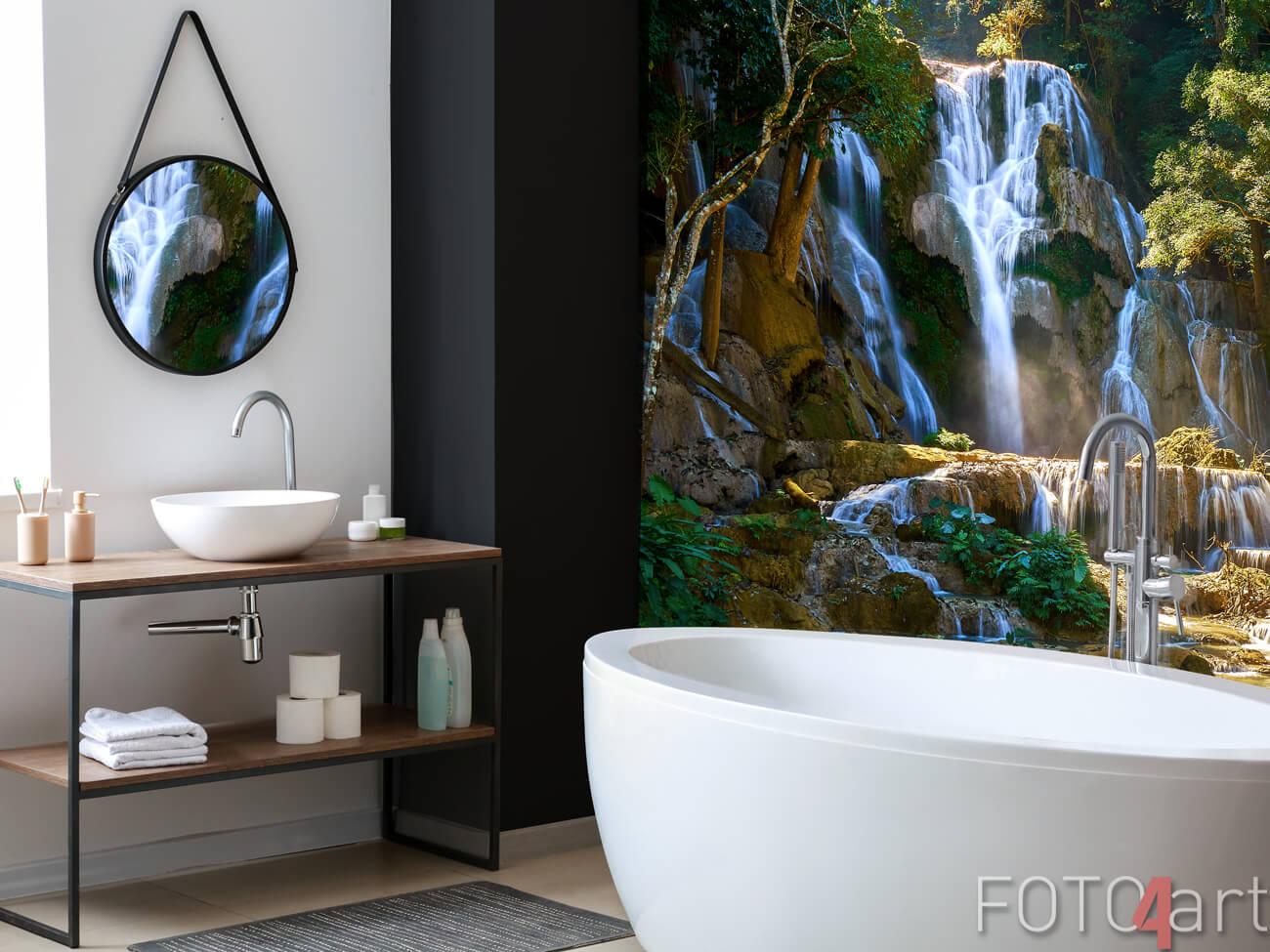 Glas Badezimmer Rückwand Wasserfall