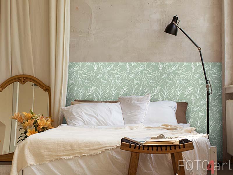 Muurstickers Witte Vector laat naadloze patroon. Willekeurig geplaatste planten all-over print op salie groene achtergrond