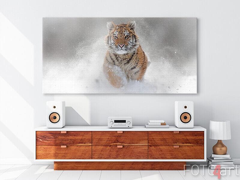 Foto op Canvas - Wilde tijger in de winter