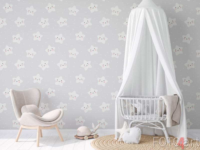 Behang - Baby naadloos patroon sterren