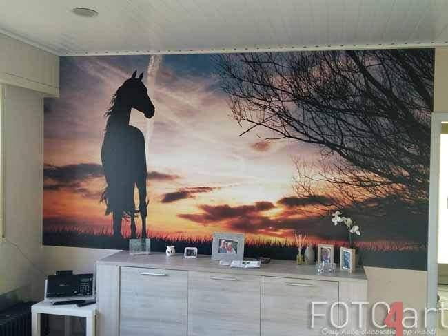 Fotobehang paard silhouet bij zonsondergang