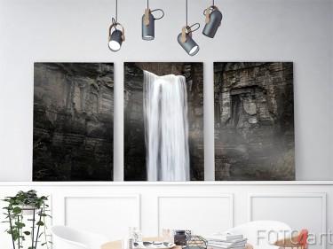 Waterval op aluminium drieluik