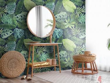 Behang met tropische bladerprint