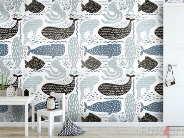 Behang met zeedieren