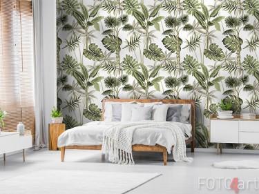 Behang met exotische bloemen
