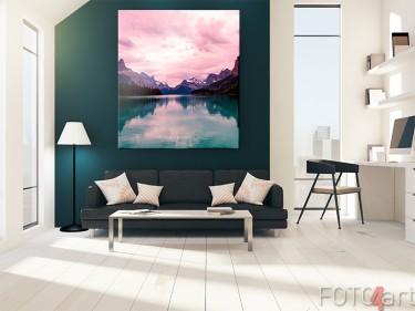 Bergmeer op canvas