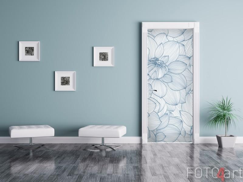 Deursticker met Vintage Bloemen Blauw