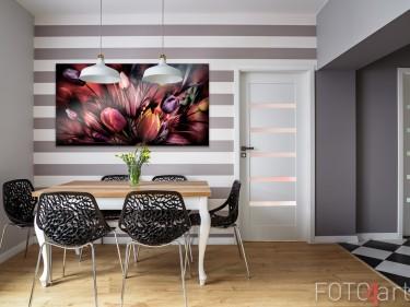 Eetkamer met Foto Abstracte Tulpen op Aluminium