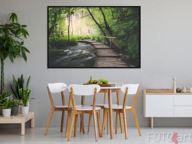 Eetkamer met Foto Bos op Poster