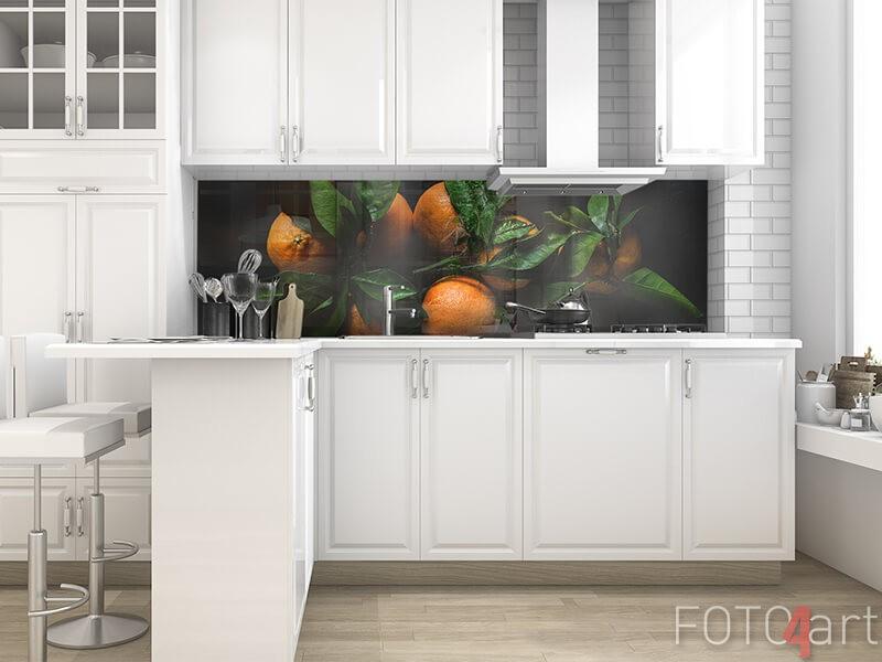 Glazen keukenachterwand met mandarijnen