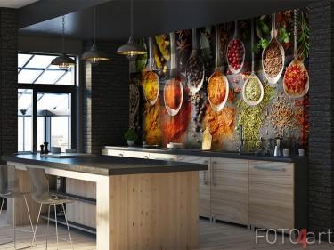Glazen keukenachterwand met kruiden