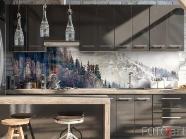 Glazen keukenachterwand met berg