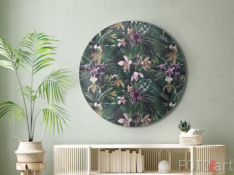 Aluminium wandcirkel met tropische bloemen