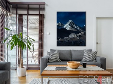 Canvas met besneeuwde bergtoppen