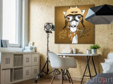 """Foto op canvas - """"Portret van een Giraffe met motorhelm"""""""
