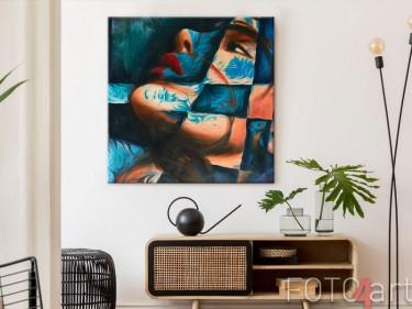 Abstract portret als foto op canvas