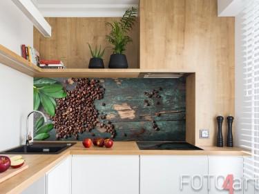 Koffiebonen op plexiglas keukenachterwand