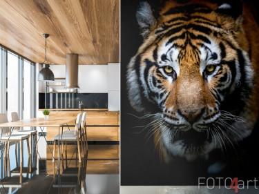 Een tijger op een fotobehang in de keuken