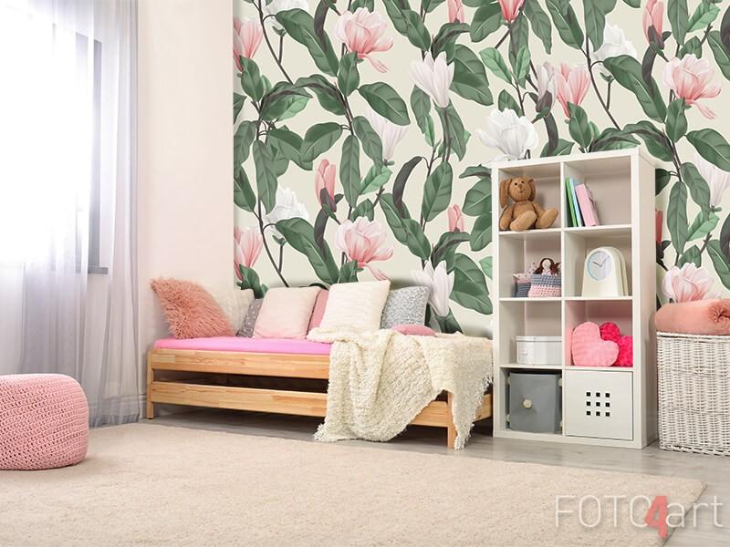Fotobehang met magnoliabloemen