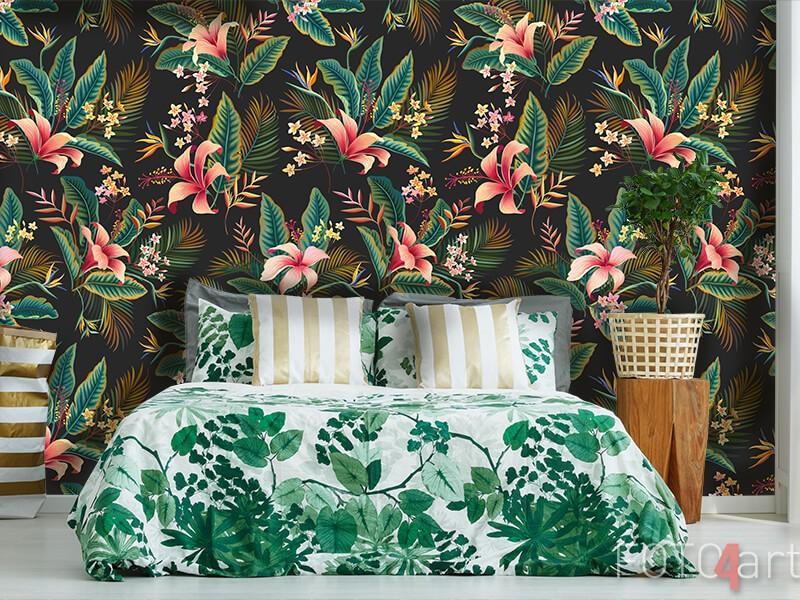 Fotobehang met design van tropische planten