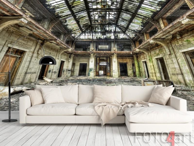Fotobehang oude verlaten gebouwen
