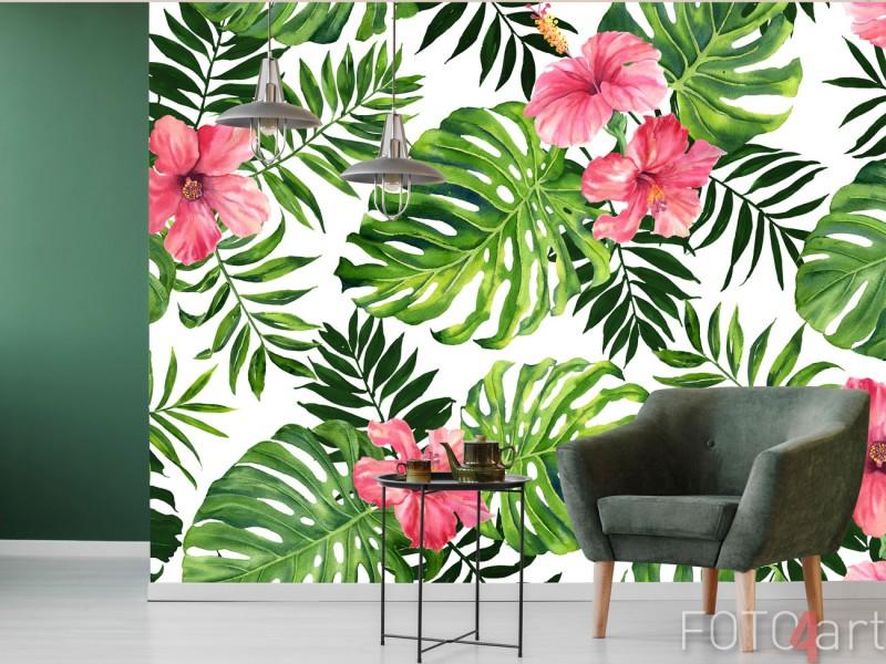 Fotobehang Tropische monstera en palm bladeren patroon