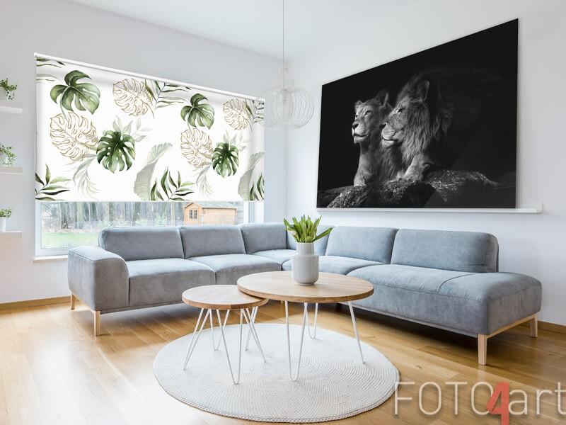 Fotorolgordijn met tropische bladeren