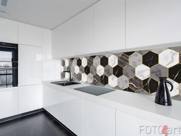 Glazen Keuken Achterwand met Geometrische Tegels