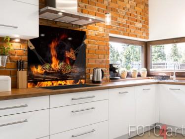 Glazen keukenachterwand in barbecue thema