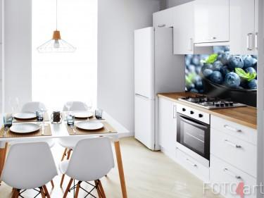 Keuken met Glazen Achterwand Bosbessen