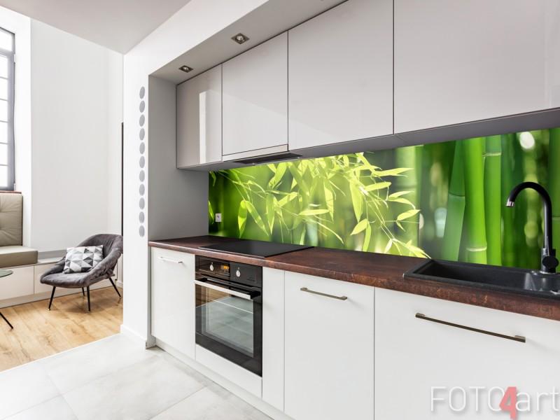 Glazen Keuken Achterwand met Bamboe