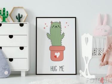 Kinderkamer met Poster Illustratie Cactus Kat