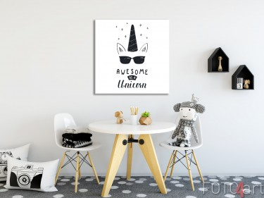 Kinderkamer met Illustratie Unicorn op Canvas