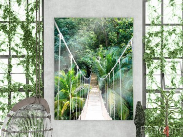 Jungle touwbrug op plexiglas