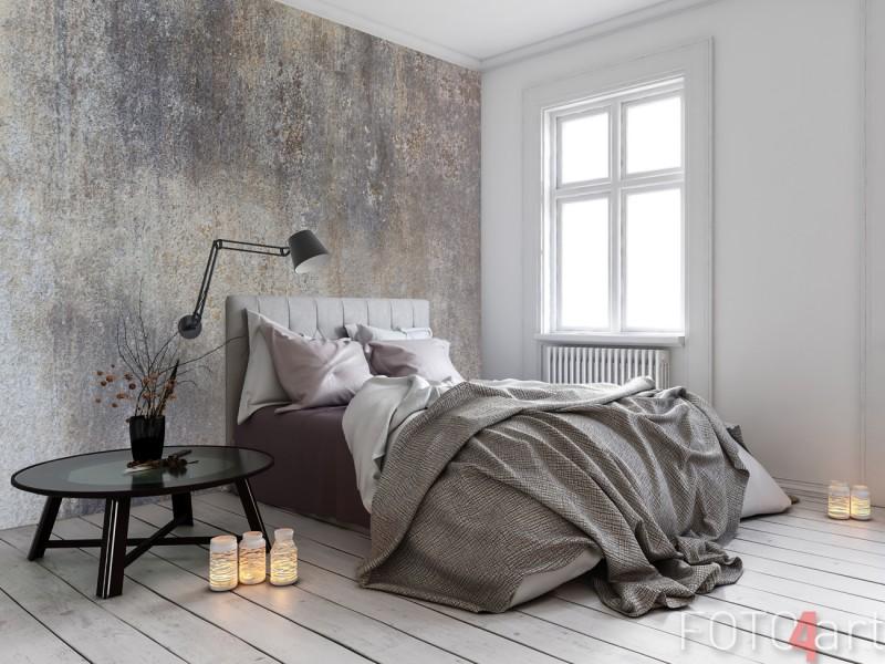 Slaapkamer met Fotobehang Beton