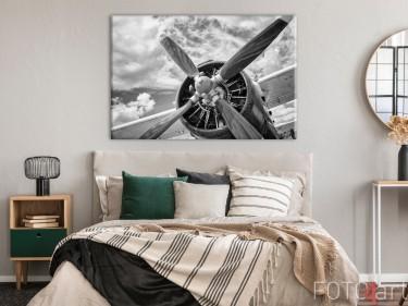 Slaapkamer met Retro Vliegtuig op Canvas