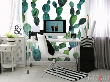 Studiekamer met Fotobehang Aquarel Cactussen