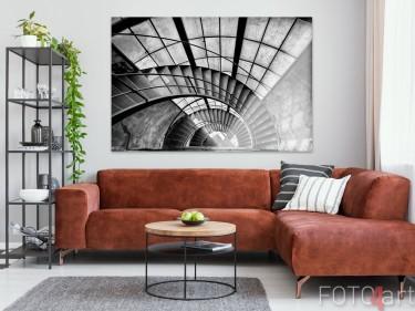Woonkamer met Foto Verlaten Gebouw op Plexiglas