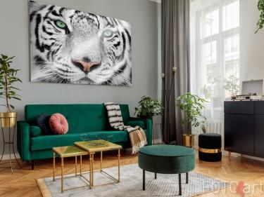 Woonkamer met Foto Witte Tijger op Plexiglas
