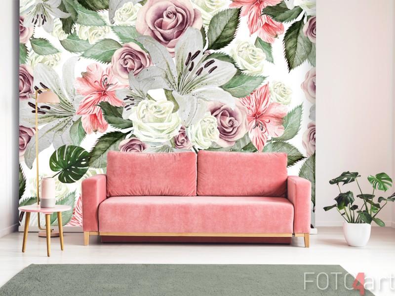 Woonkamer met Fotobehang Vintage Bloemen